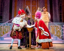 Jack Lansbury, Colin Burnicle, Martin Barrass and (background) Howie Michaels in Sleeping Beauty at York Theatre Royal. Photo Robling Photography
