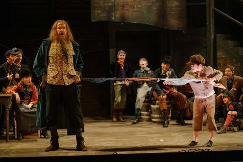 YorkLight-Oliver-2020-Photographer Tom Arber-Rory Mulvihill (Fagin), Matthew Warry (Oliver) and young persons ensemble